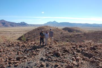 Dr. Panich stands with his mexican colleagues at a prehistory obsidian quarry in Baja California, Mexico.