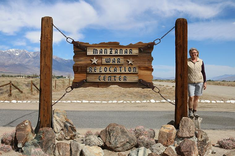 Renee Billingslea at the Manzanar War Relocation Center, one of the ten camps where Japanese-Americans were incarcerated during World War II.