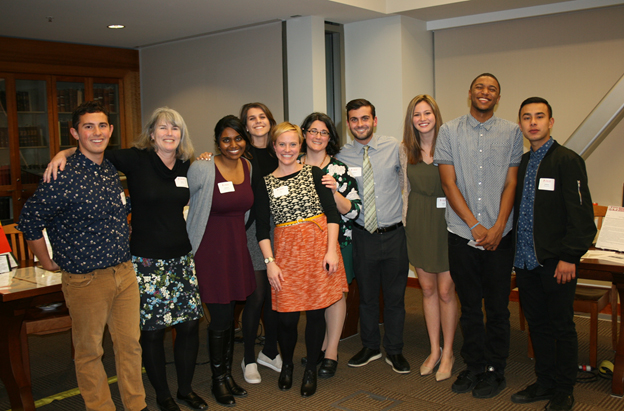 Students and library staff join Dr. Amy Lueck to celebrate their digital humanities presentations. Pictured (from left): Jack Moore, Sheila Conway, Sai Panneerselvam, Drea Modugno, Amy Lueck, Nadia Nasr, Anthony Hopkins, Cindy Stella, Hasan Meshack and Andrew Hernandez.