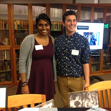 Students Sai Panneerselvam and Jack Moore explain their digital humanities project they created in SCU's Special Collections and Archives.