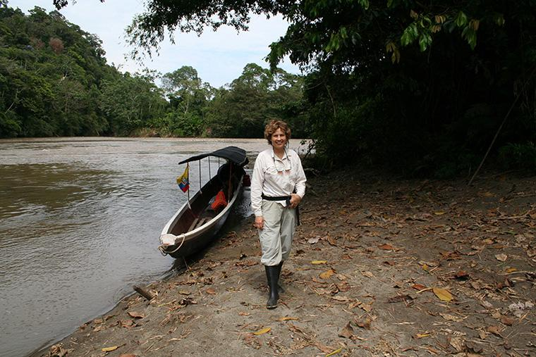 Professor Janice Edgerley-Rooks in Ecuador gathering samples for her research