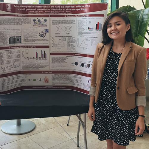 Zoe Amaris presenting a poster her junior year