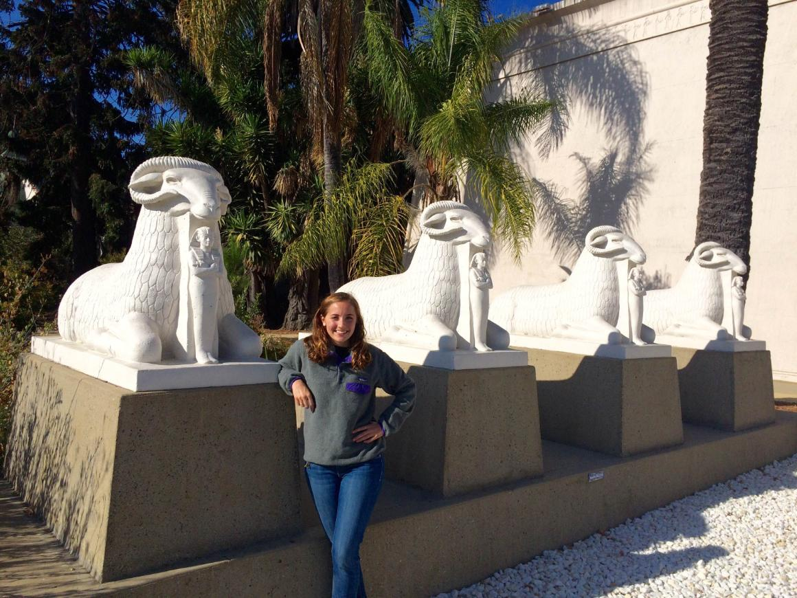 Emily Stewart outside the Rosicrucian Egyptian Museum in San Jose where she interned over this past summer.