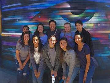Gurleen Bajwa (front row, second from left) and her fellow SCU immersion students in Los Angeles in March. image link to story