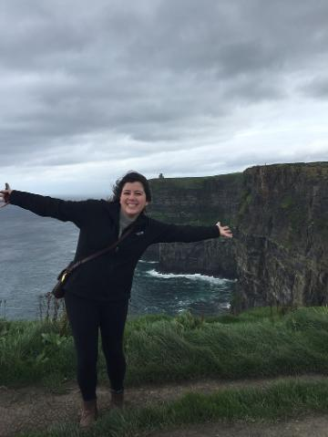 Katherine at the cliffs of Moher in Ireland.
