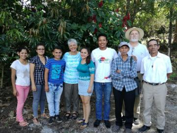 Ana Maria Pineda, RSM with founders and youth of Papaturro, El Salvador