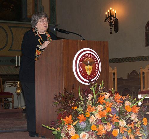 Elizabeth A Johnson giving a lecture