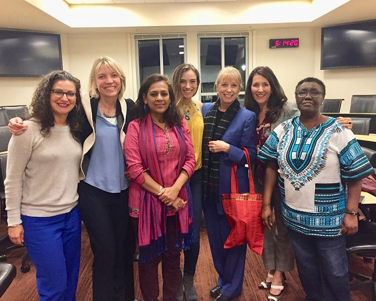 Photo of Organizers and Speakers - Sharan Dhanoa, Karen Peterson-Iyer (STOP-HT), Smarita Sengupta, Alyssa Newman, Janet Giddings (STOP-HT), Tanya Monsef, Teresia Hinga (STOP-HT)