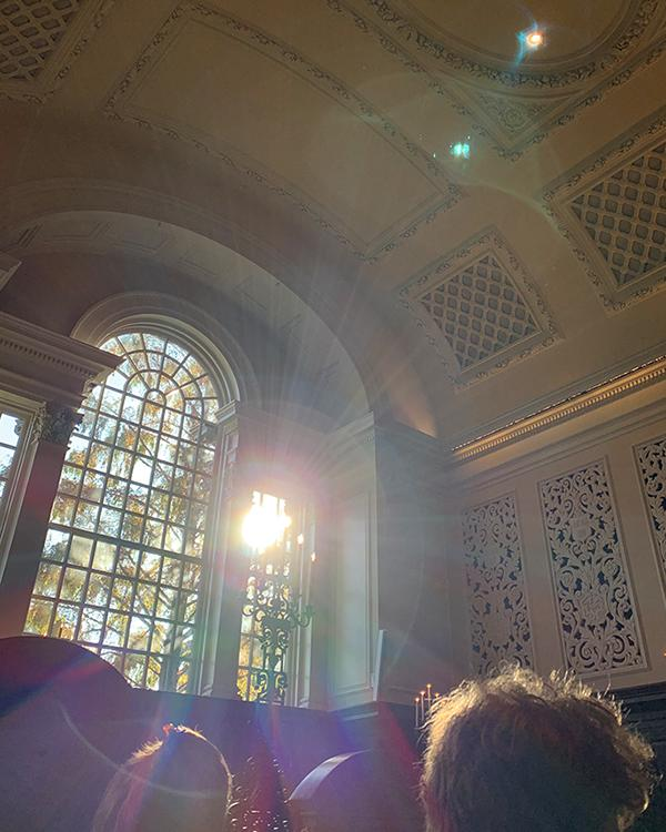 Light shines in the Harvard Memorial Church