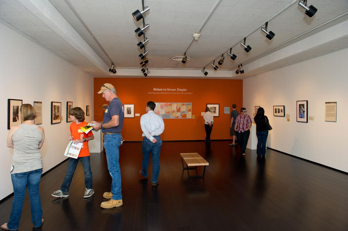 View of visitors in museum galleries.