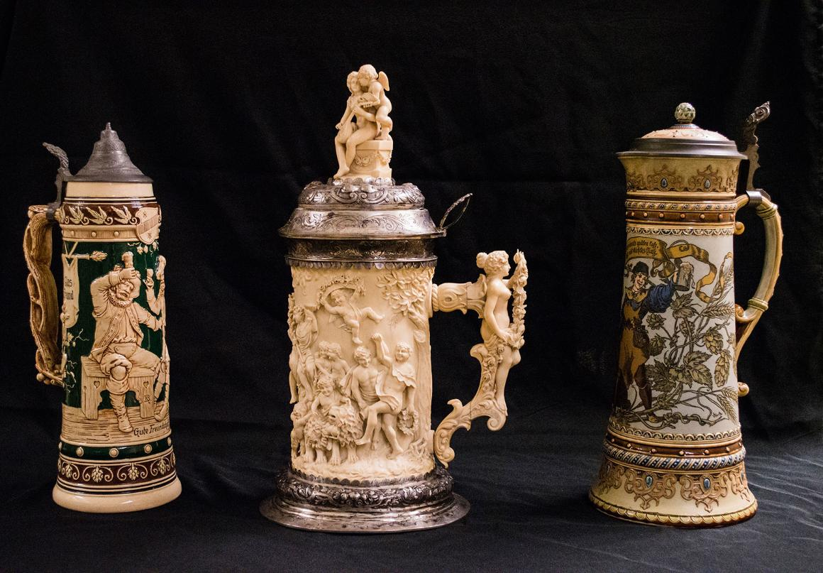 Three decorative beer steins from the museum's collection.