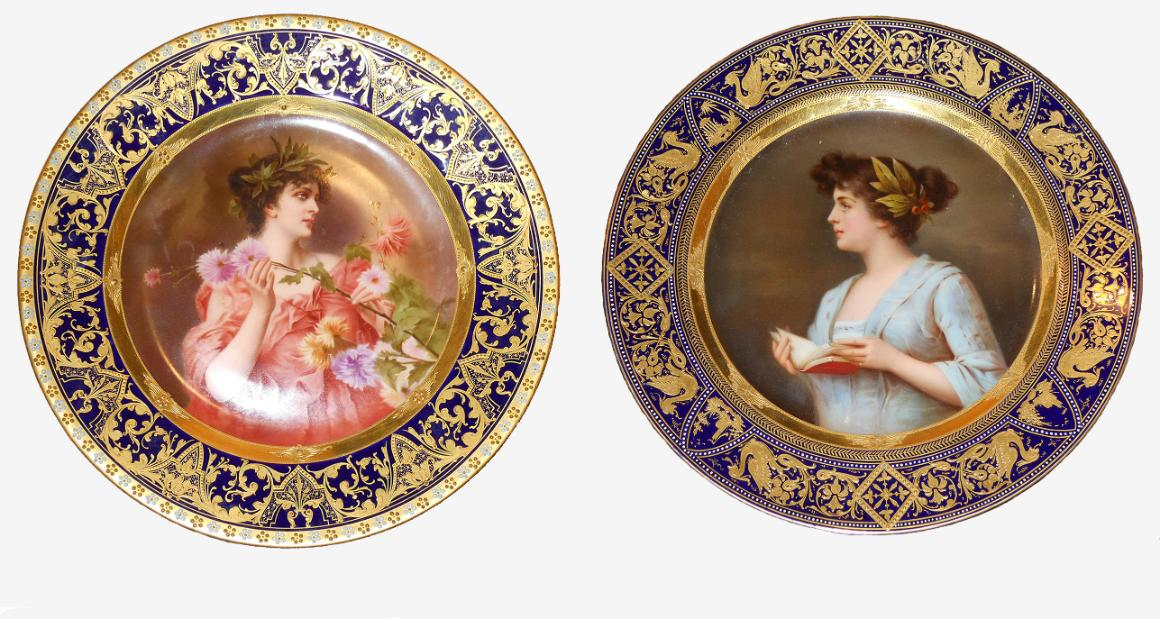 Porcelain plates from the late 18th and early 19th century given by E.V. D'Berger.