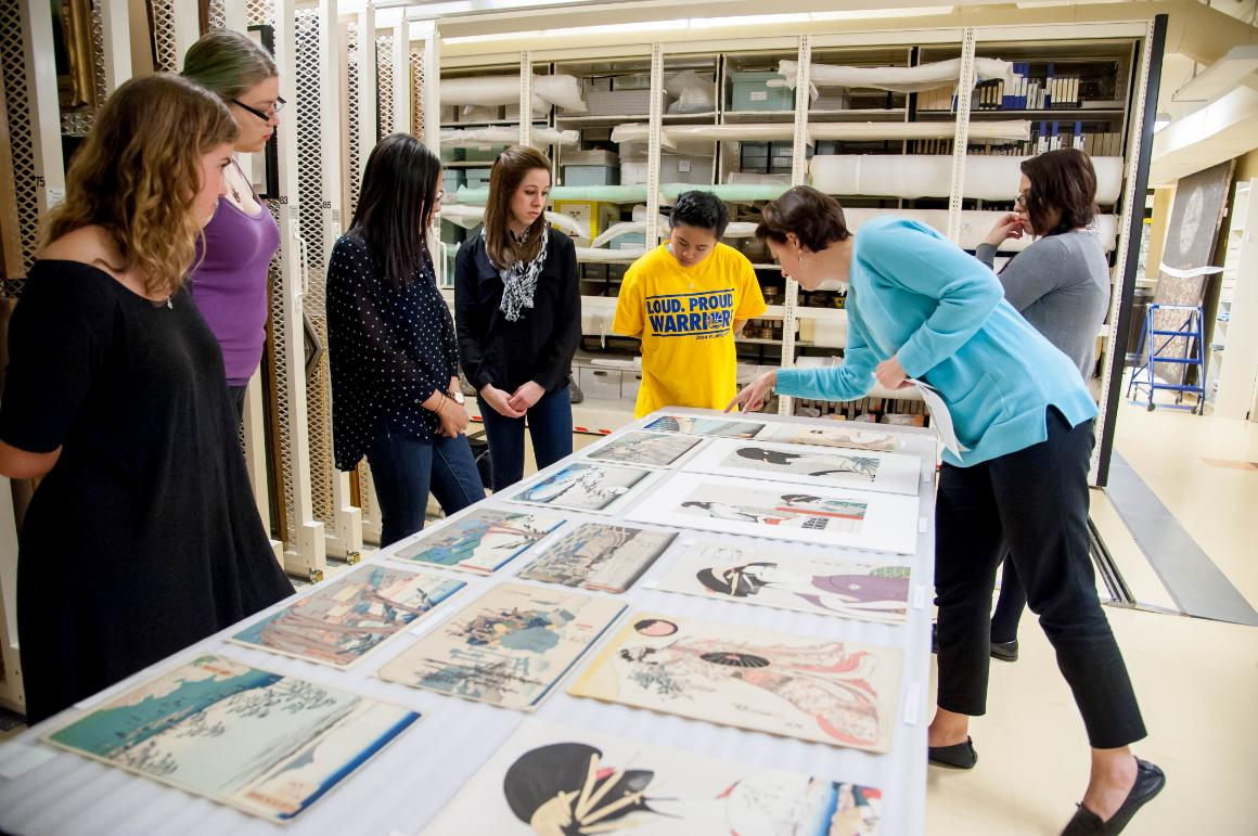 Art History students visiting collections with Prof. Karen Fraser.