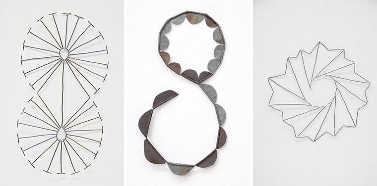 Three wall hanging sculptural objects designed by Mari Andrews.