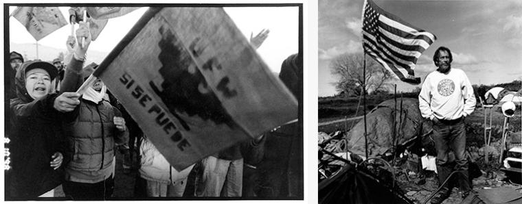 Left: Black-and-white image of farm workers on strike. Right: Black-and-white photo of a homeless veteran.
