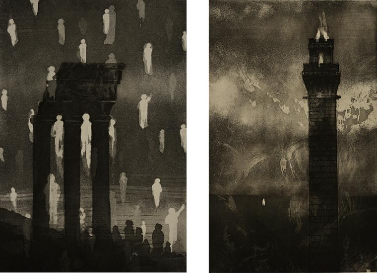Two black and white prints. On left the print shows a architectural feature with columns and roof, there are white abstracted figures placed as if floating vertically through the space. On right, print depicts a tall tower in an abstracted landscape.
