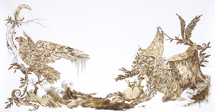 """Endless Gathering Lull,"" a work on paper by Sarah Smith including metal leaf, ink and pencil on paper."