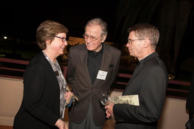 Museum Director, Rebecca Schapp, Artist Fletcher Benton, and University Chancellor William Rewak in conversation.