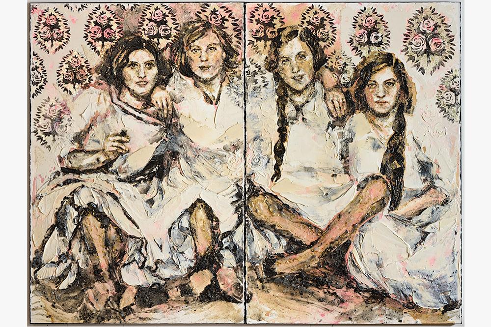 Painting of four seated women with their arms around each other's shoulders. Painted from historical photograph.