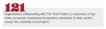 121 organizations collaborating with The Trust Project, a consortium of top news companies developing transparency standards to help readers assess the credibility of journalism
