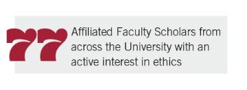 77 Affiliated Faculty Scholars from across the University with an active interest in ethics