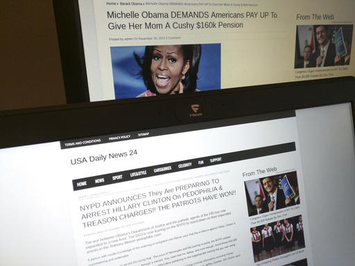 Stories from USA Daily News 24, a fake news site registered in Veles, Macedonia. (AP Photo/Raphael Satter)​