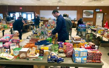 Coast Guard food bank during pandemic in Groton, CT