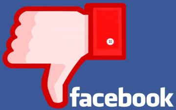 a thumbs down icon image and Facebook brand logo