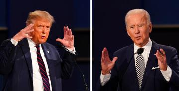 President Trump and Vice President Biden at the first debate during the 2020 election.