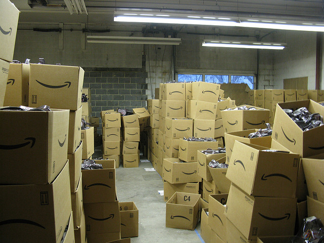 Amazon boxes in storage image link to story