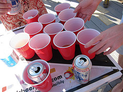 red cups set up for beer pong image link to story