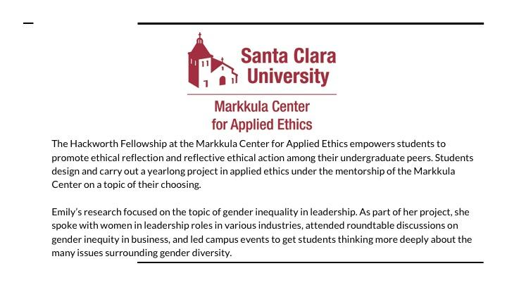 Markkula Center for Applied Ethics Hackworth Fellowship