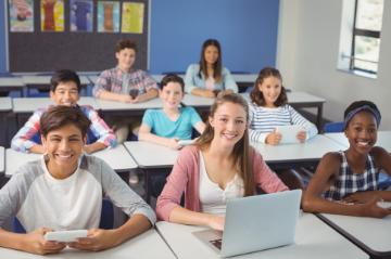 High school class using computers