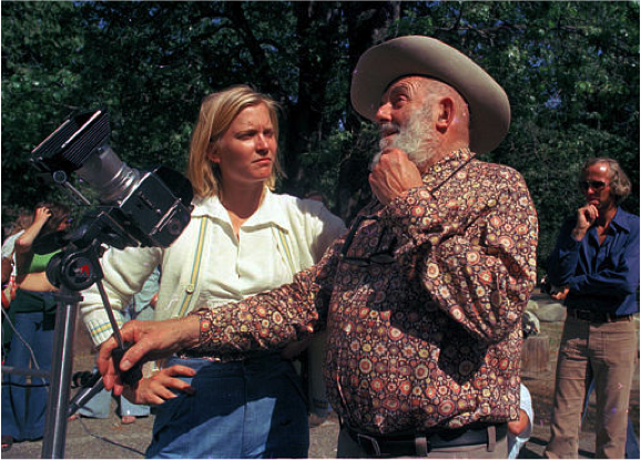 Ansel Adams teaching Susan Ford (daughter of President Gerald Ford) photography at his gallery near Yosemite