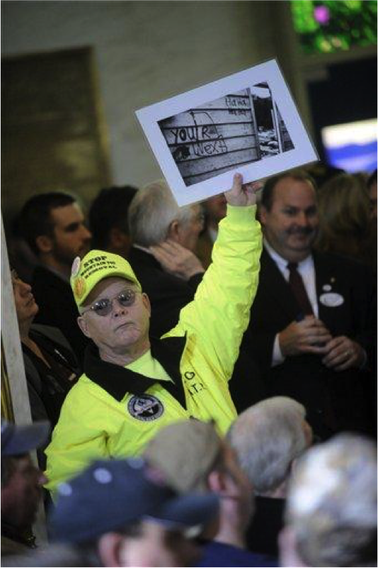 Larry Gibson at a rally in January 2011 at the Capitol in Charleston, WV in response to U.S. Environmental Protection Agency actions. [1]
