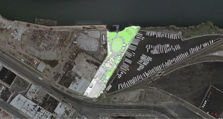 The original projected plan for the Hunts Point Riverside Park