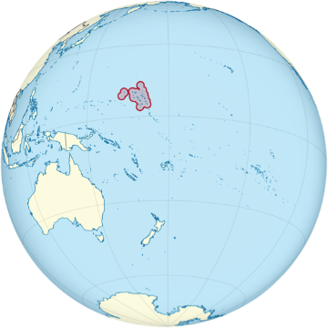 Map of the globe, highlighting the Marshall Islands