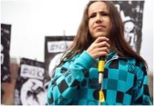 Xiuhtezcatl Martinez at a rally in 2014. image link to story