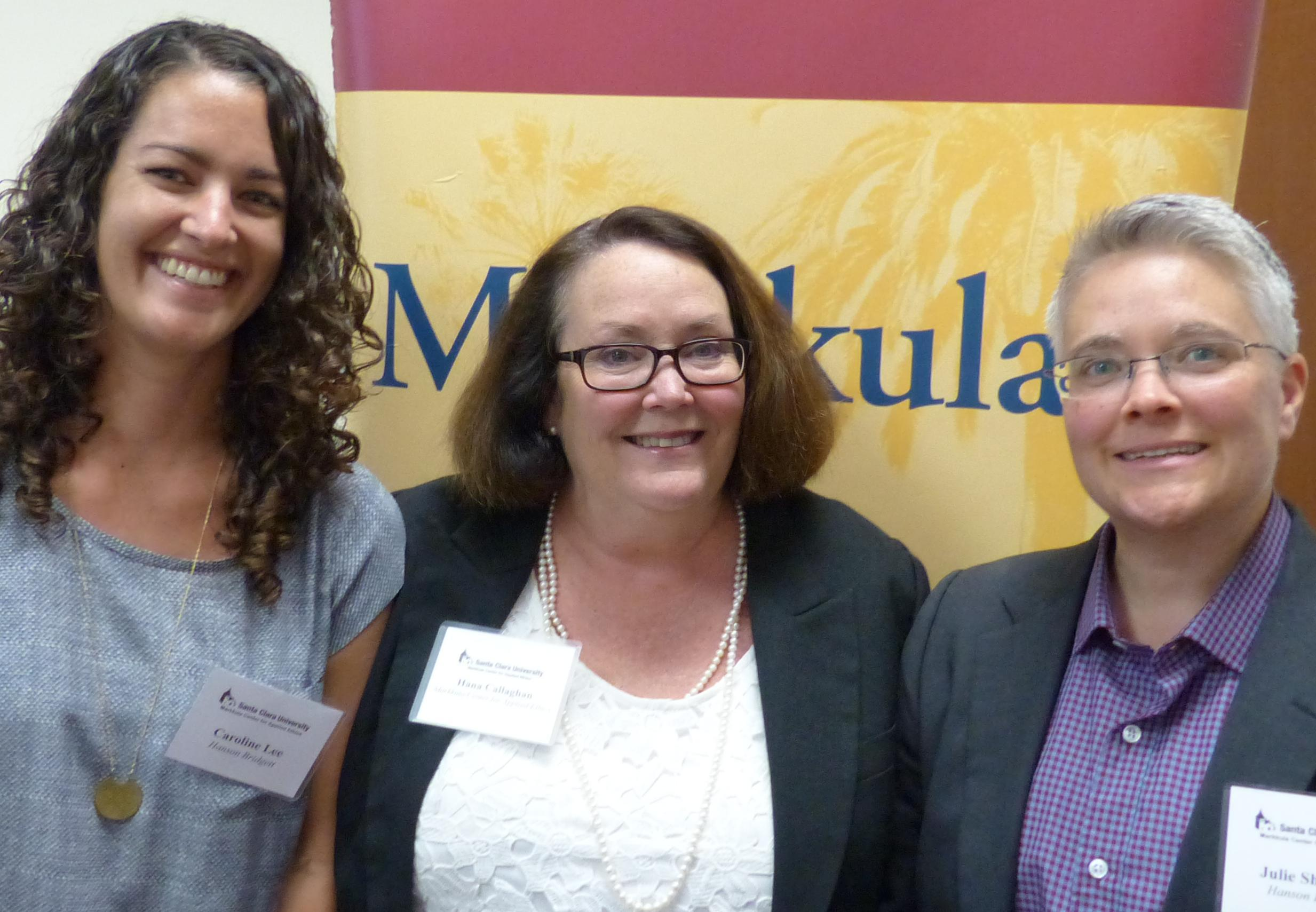 Hana Callaghan, Julie Sherman, and Caroline Lee at the August 21, 2015 Public Sector Roundtable