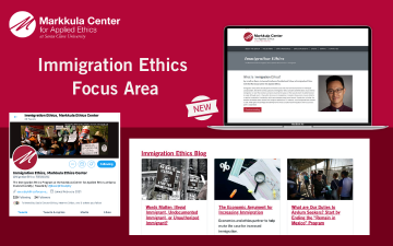 promotional graphic for Immigration Ethics Focus Area website, blog and twitter feed
