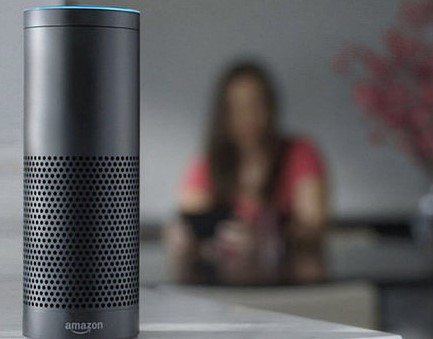 Amazon Echo,with woman in the background