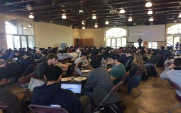 students participate in a hackathon at Santa Clara University in March 2020