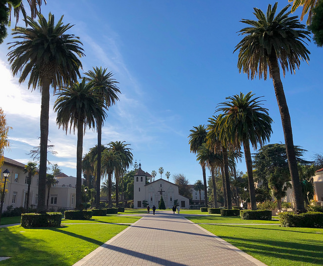 Santa Clara Mission and palm trees
