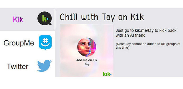 Tay chatbot screen capture