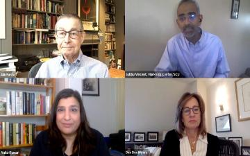Bill Plante, Anita Kumar, Dee Dee Myers, and Subbu Vincent participate in a virtual webinar.