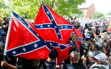 Confederate flags at a KKK rally