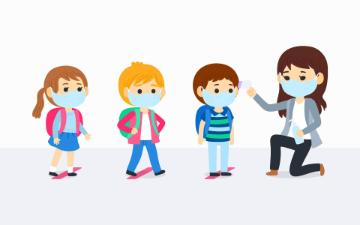 illustration of children wearing face masks lined up to get hand sanitizer from teacher