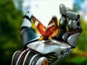 Buttefly in a robot's hand