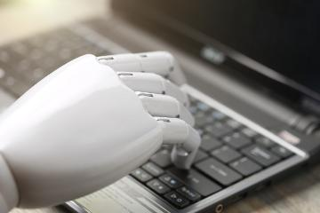 robot hand typing
