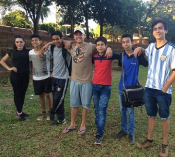 Anthony Hascheff '15 in Paraguay with friends
